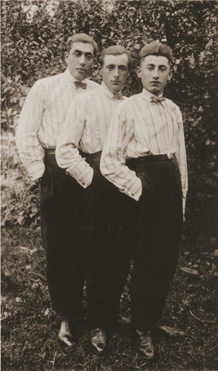 "Three Jewish youth, identically dressed in striped shirts and bow ties, pose with one hand in their pocket.  The Yiddish inscription reads ""To my sister-in-law Mindl Frank, from your brother-in-law Leibl Frank,"" Biala Rawska."