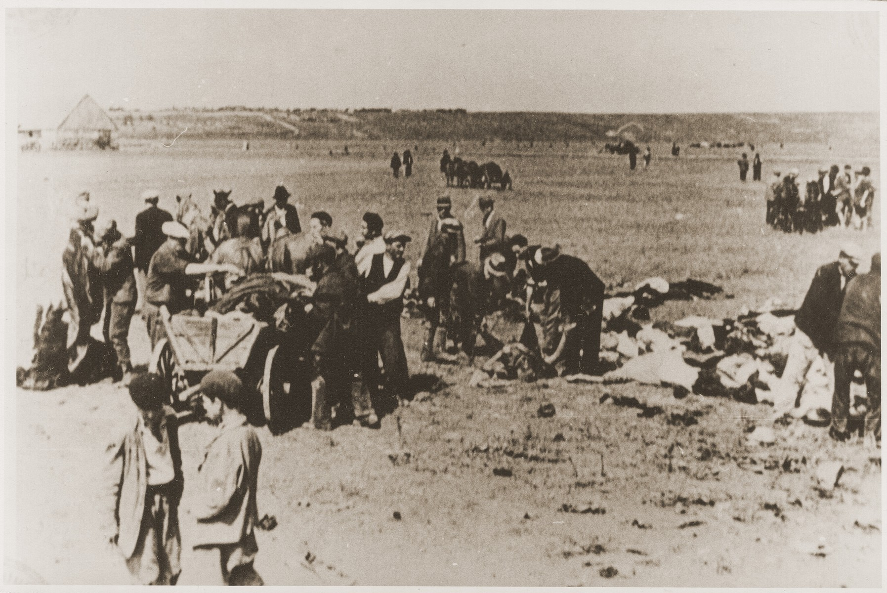 Civilians load the bodies of Jews removed from the Iasi death train onto a wagon for transport to a burial site.