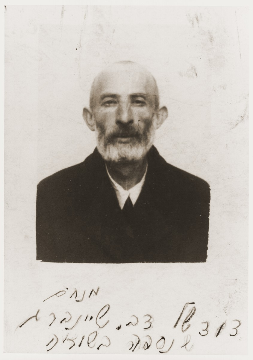ID photo of Menahem Sheinberg taken in the Nowy Sacz ghetto.  Menahem Sheinberg was an uncle of Berel Silbiger.