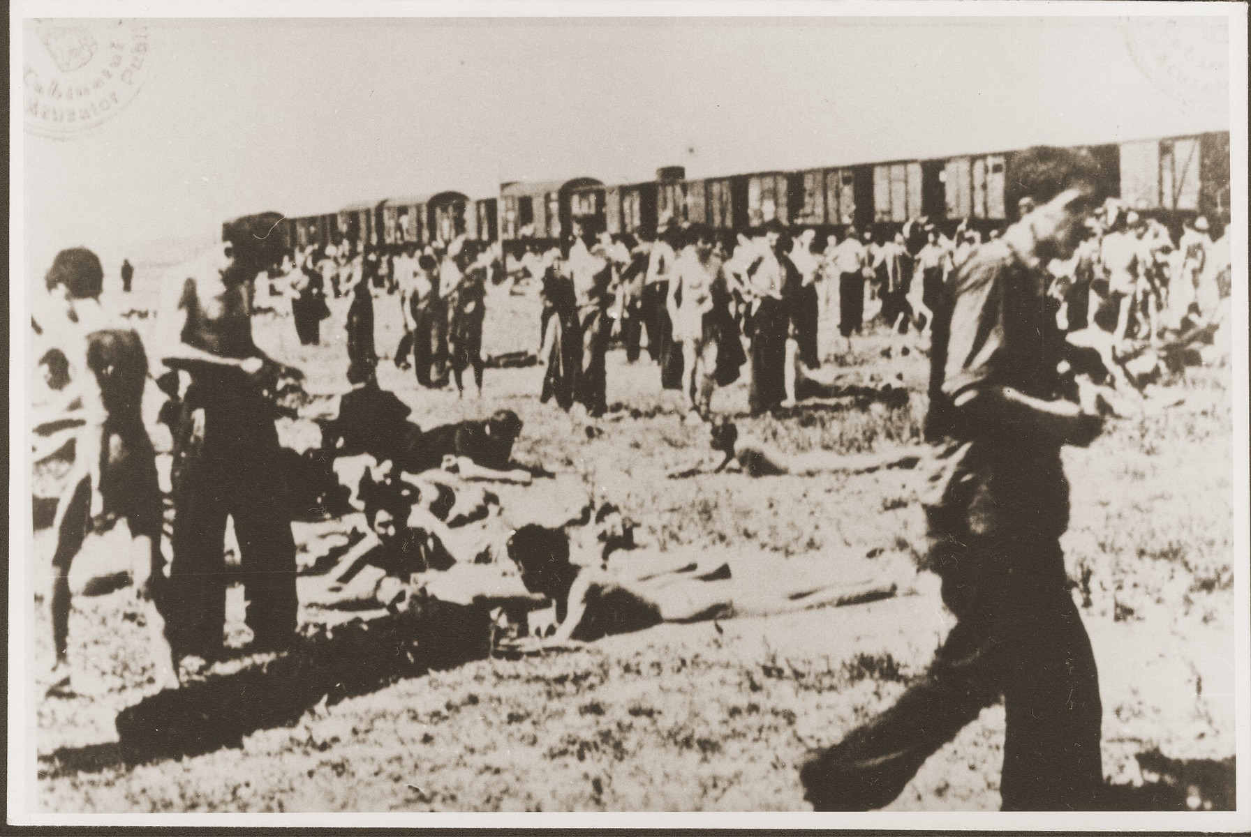 Jewish passengers on the Iasi death train rest in a field beside the tracks during a stop on the journey.