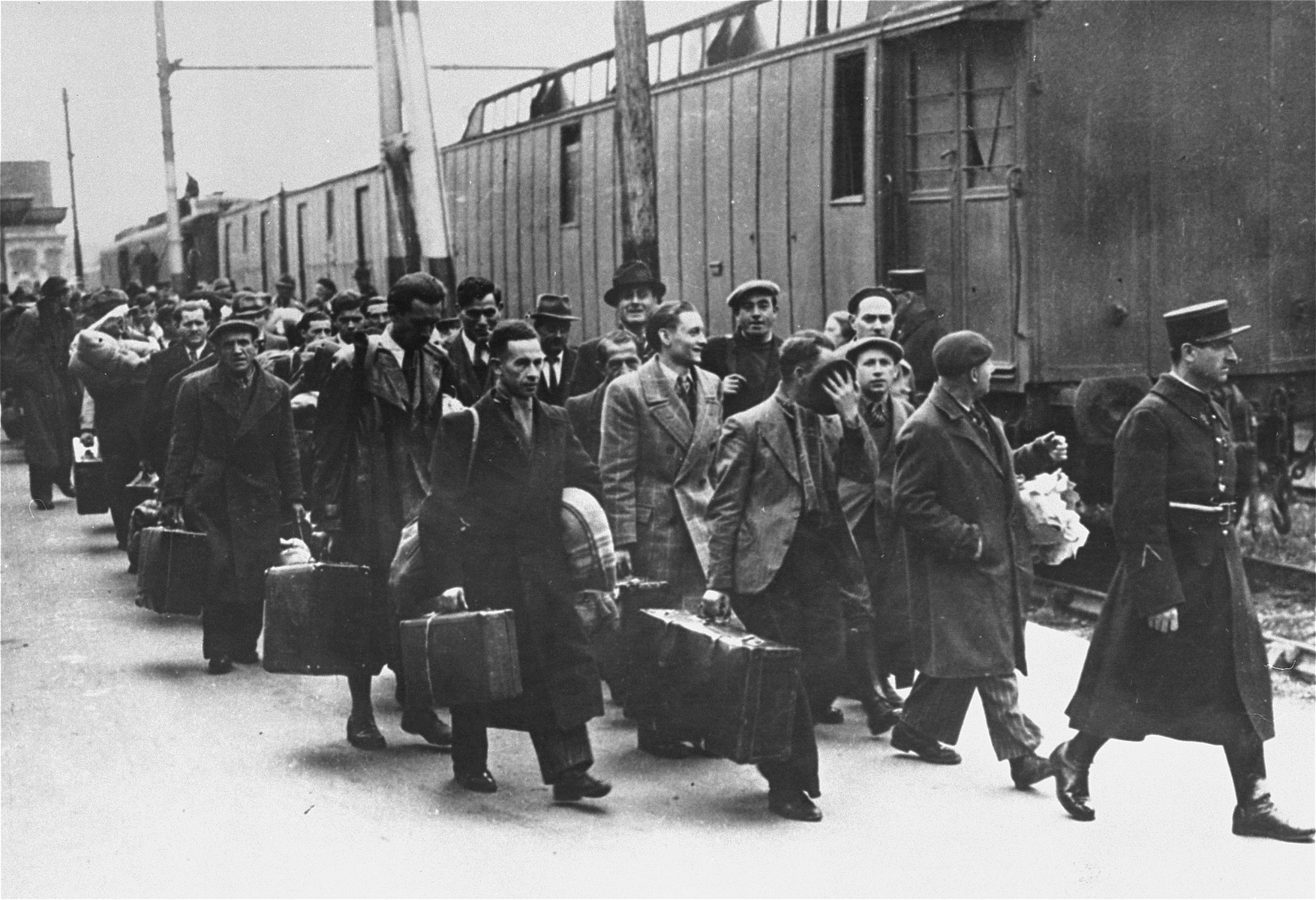 Foreign born Jews arrive at the gare d'Austerlitz station during a deportation action from Paris.