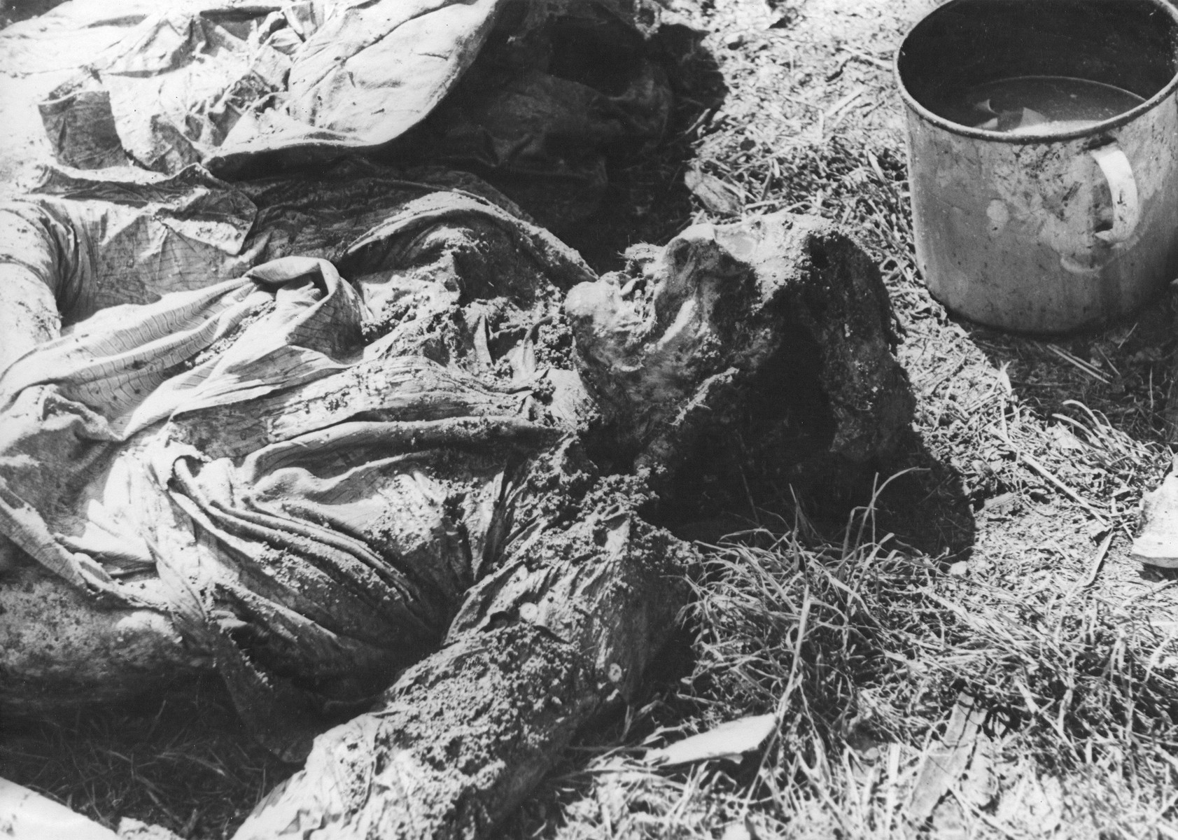 The corpse of a Jew exhumed from a mass grave.  The victim weas presumably killed in the Maros Street or Varosmajor Street hospital massacres.