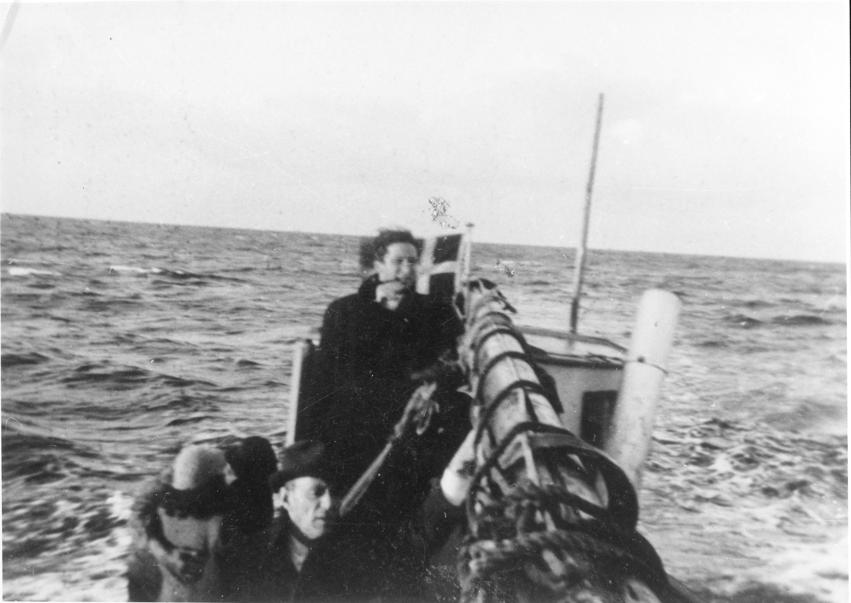 Jewish refugees from the island of Falster, Denmark, travel on a fishing boat en route to Ystad, Sweden.