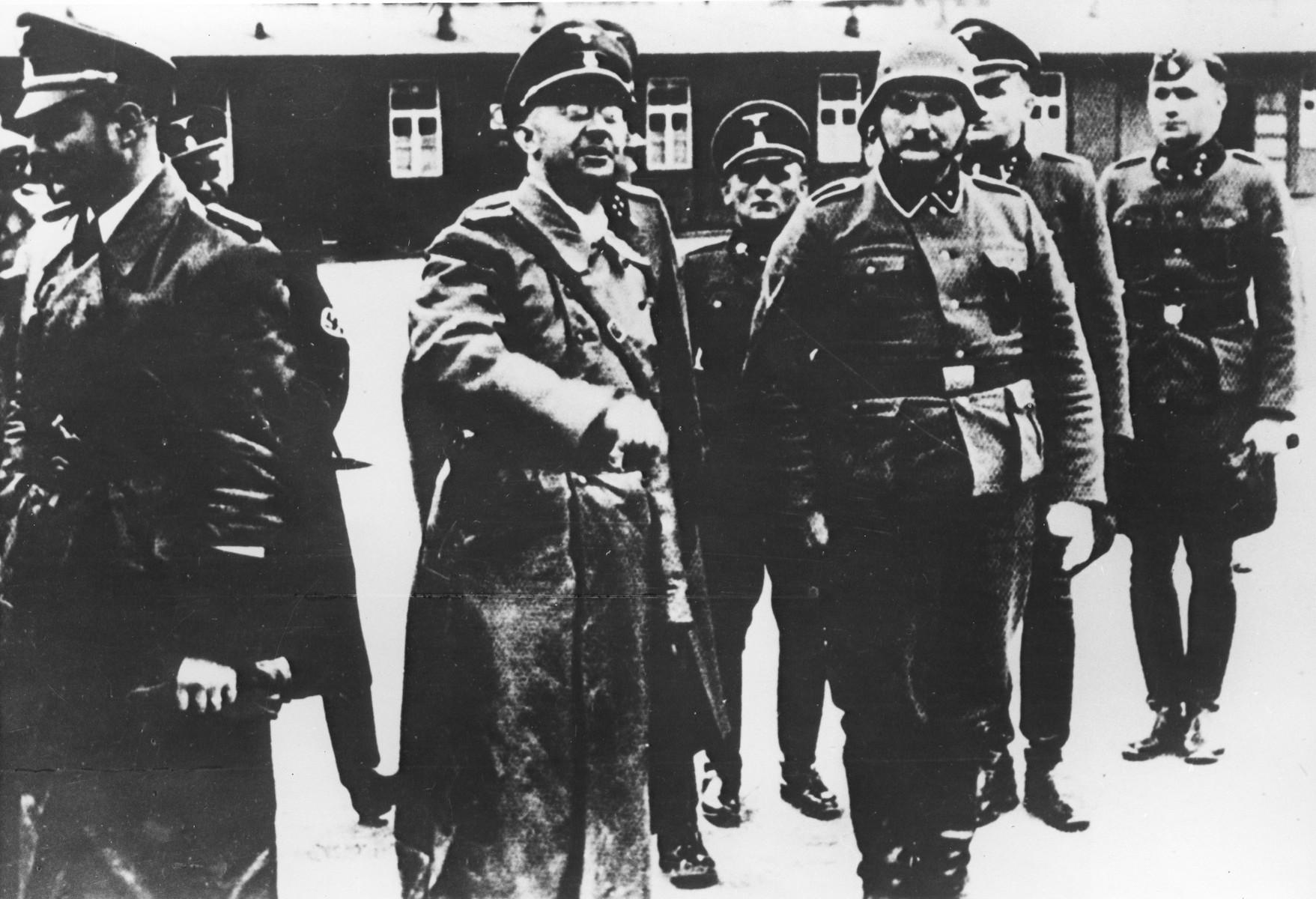 Himmler visits a concentration camp.