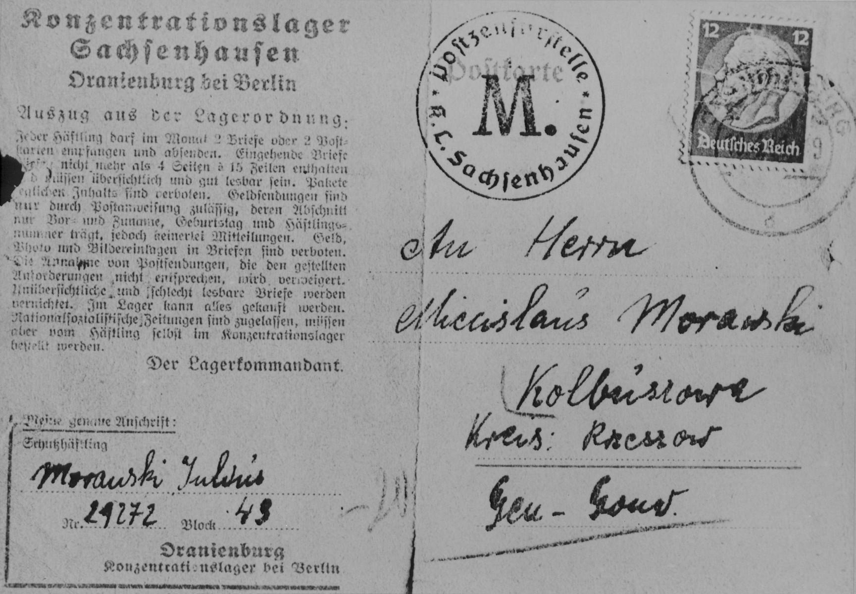 A postcard sent from Julius Morawski in Oranienburg to Miecislaus Morawski in Kolbuszowa.