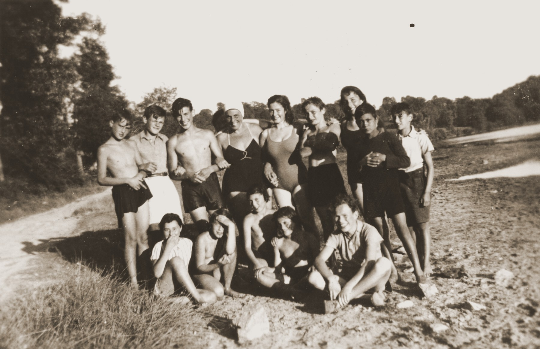 Group portrait of Jewish refugee children living at Château du Chaumont on an outing.    Among those pictured is Walter Karliner (back row, second from the left).  Kurt Siegfried Hirschhorn (back row, third from left).  Mrs. Schwartz (counselor, fourth from left).  Kurt Hirschhorn was deported in August 1942.