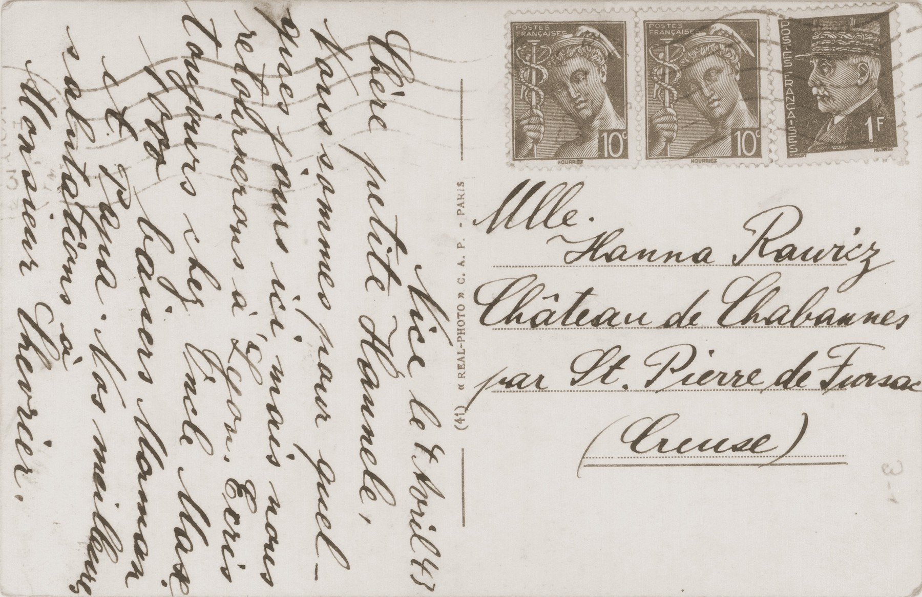 A postcard sent to Hanna Rawicz at the Château de Chabannes by her parents in Nice.