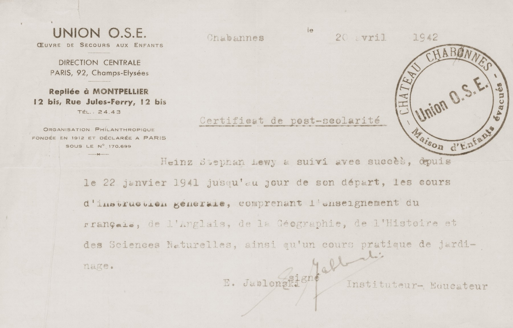 A certificate issued by the director of the Château de Chabannes children's home stating that Heinz Stephan Lewy has successfully completed his course of studies at the home.