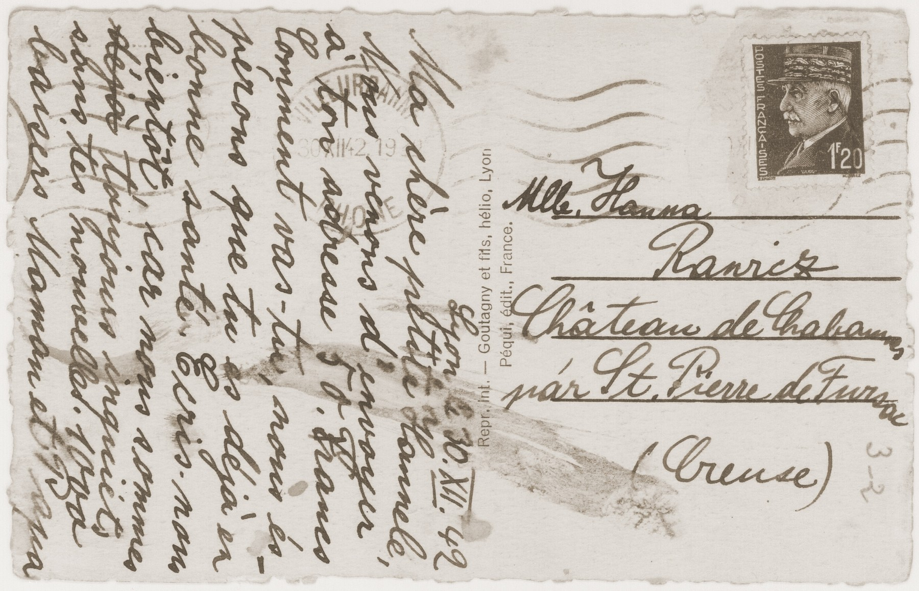A postcard sent from Lyon by Jakob and Gisa Rawicz to their daughter, Hanna, at the Château de Chabannes children's home.
