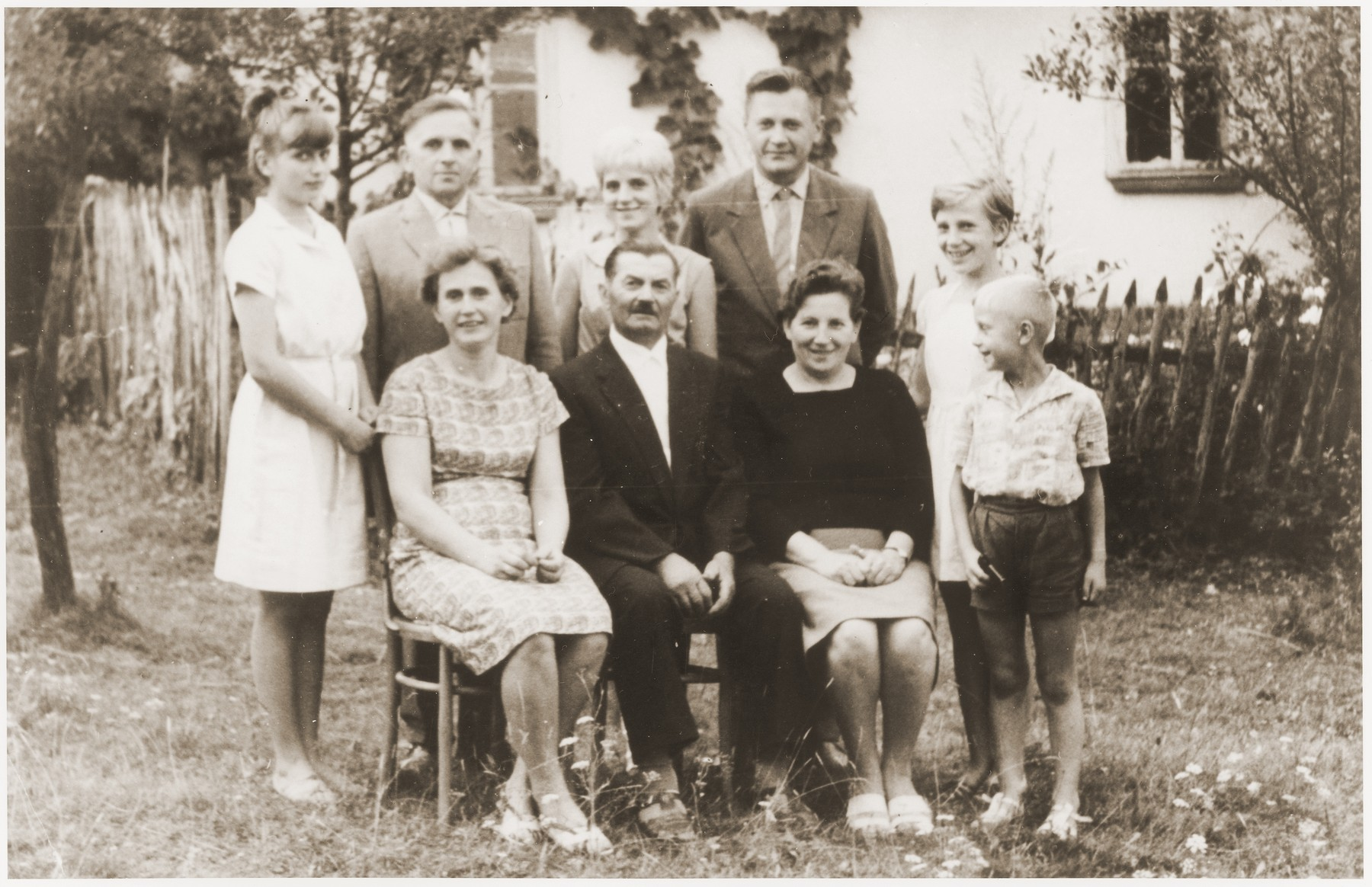 Group portrait of members of the Lacny family who hid Sala Schoen during the German occupation of Poland.