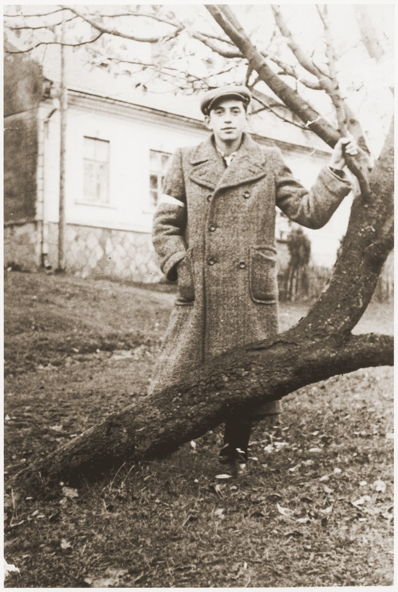 A young Jewish man wearing an armband poses by a tree in the Wisnicz Nowy ghetto.  Pictured is Meyer Schoen.