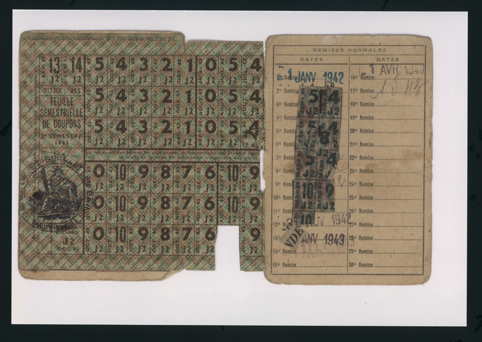 A ration card issued to Hannah Rawicz in Saint Pierre de Fursac.