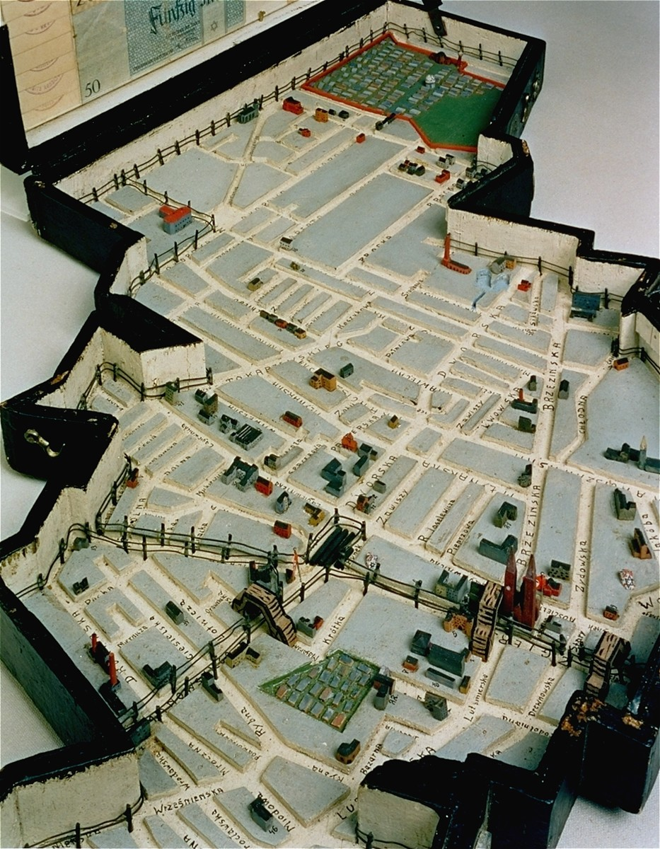 A model of the Lodz ghetto created by ghetto resident Leon Jacobson in 1940.  Jacobson was a shoemaker by training.