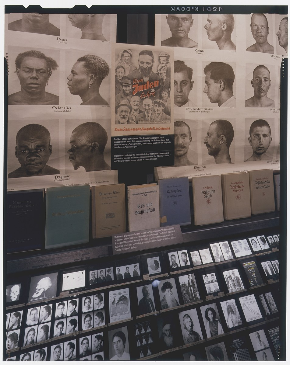 "Detail of the ""Science of Race"" with race charts, books and lantern slides on display on the fourth floor of the permanent exhibition."