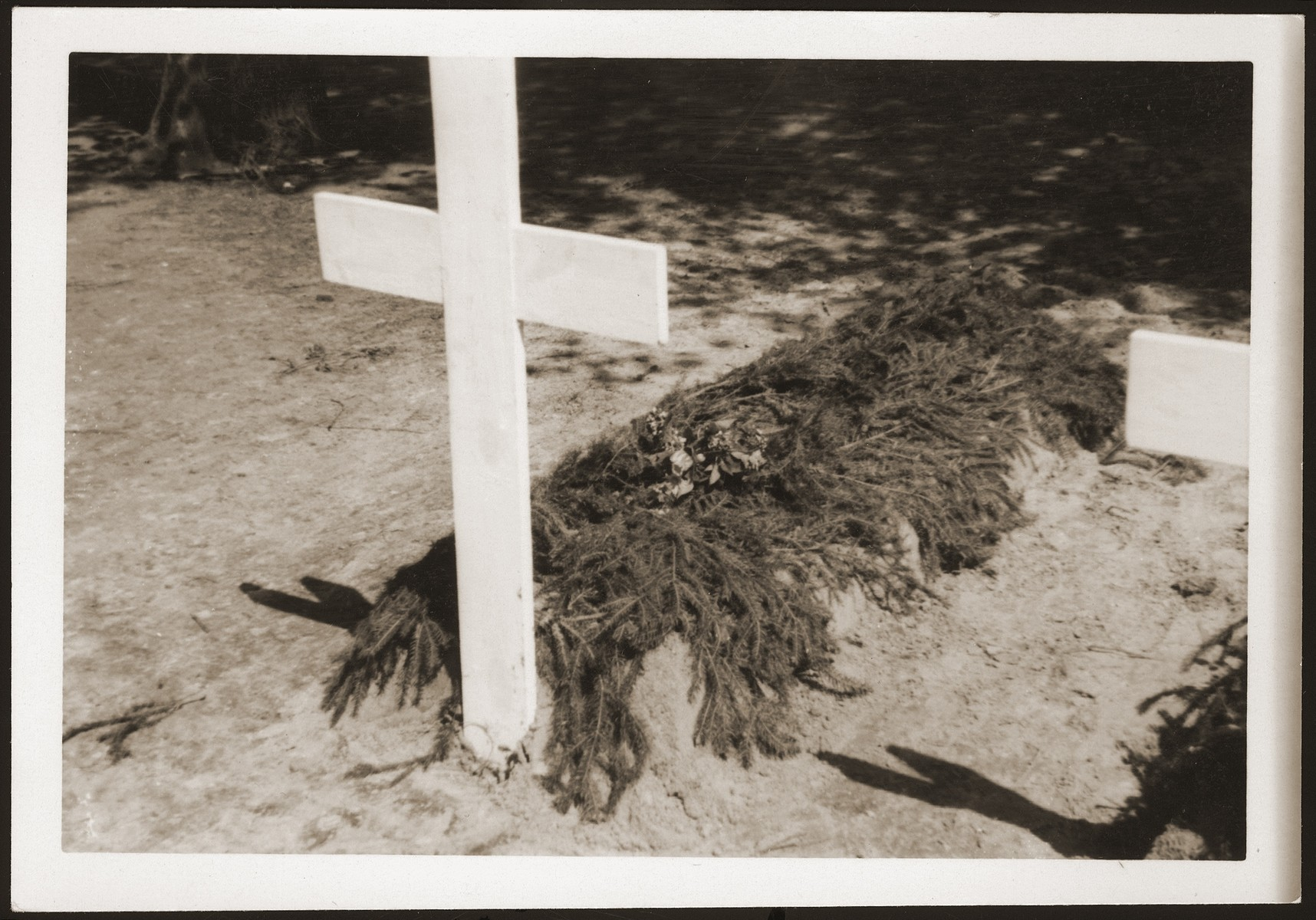 One of 200 graves dug by the people of Ludwigslust on the palace grounds of the Archduke of Mecklenburg, where they have been forced by U.S. troops to bury the bodies of prisoners killed in the Woebbelin concentration camp.