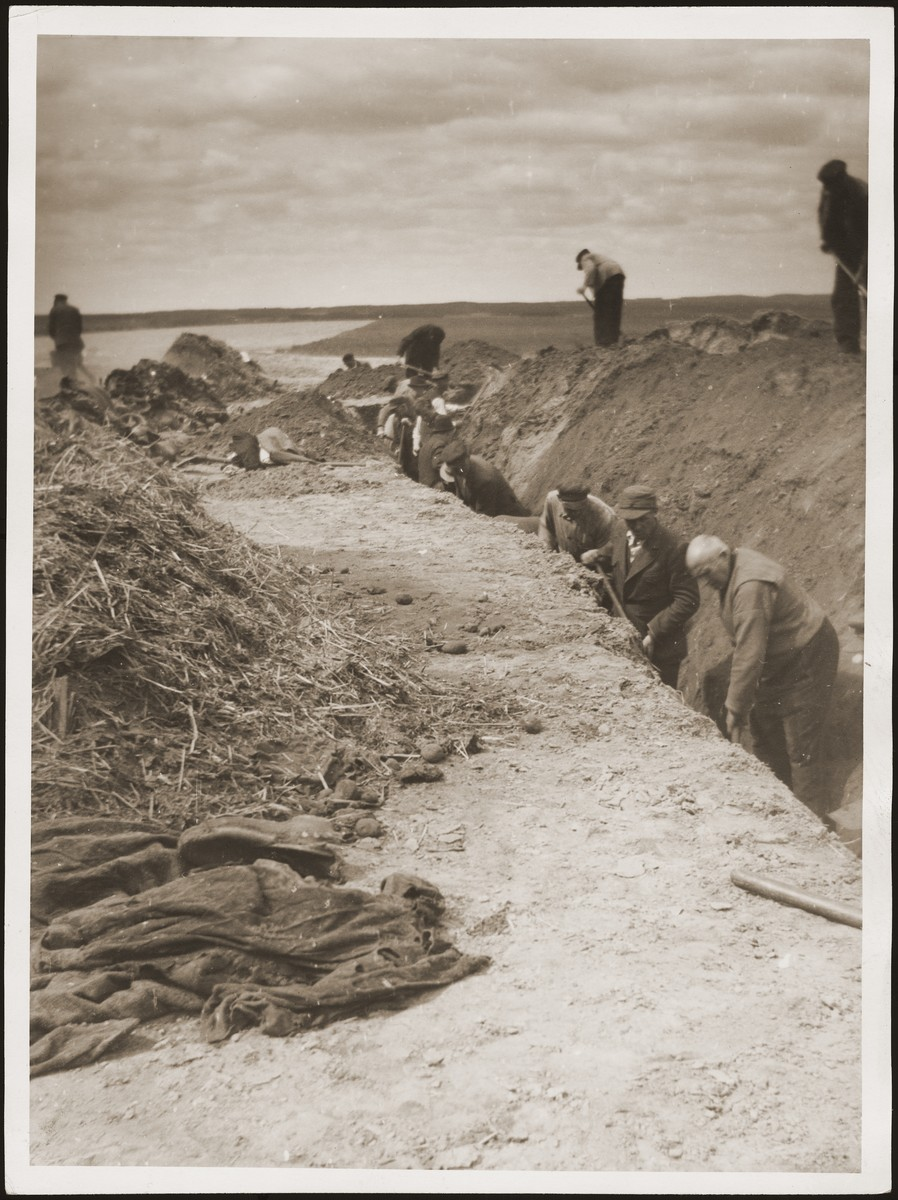 German civilians exhume a mass grave, in which prisoners who were burned alive by the SS in a barn just outside of Gardelegen were buried.