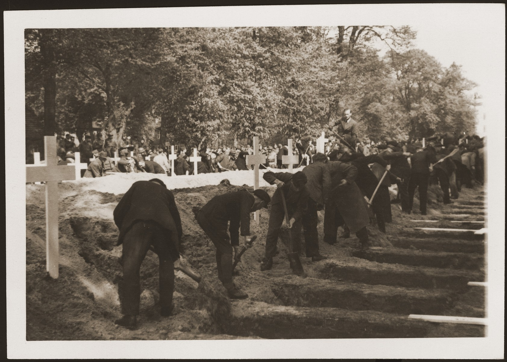 The population of Ludwigslust digs graves on the palace grounds of the Archduke of Mecklenburg, where they have been forced by U.S. troops to bury the bodies of prisoners killed in the Woebbelin concentration camp.