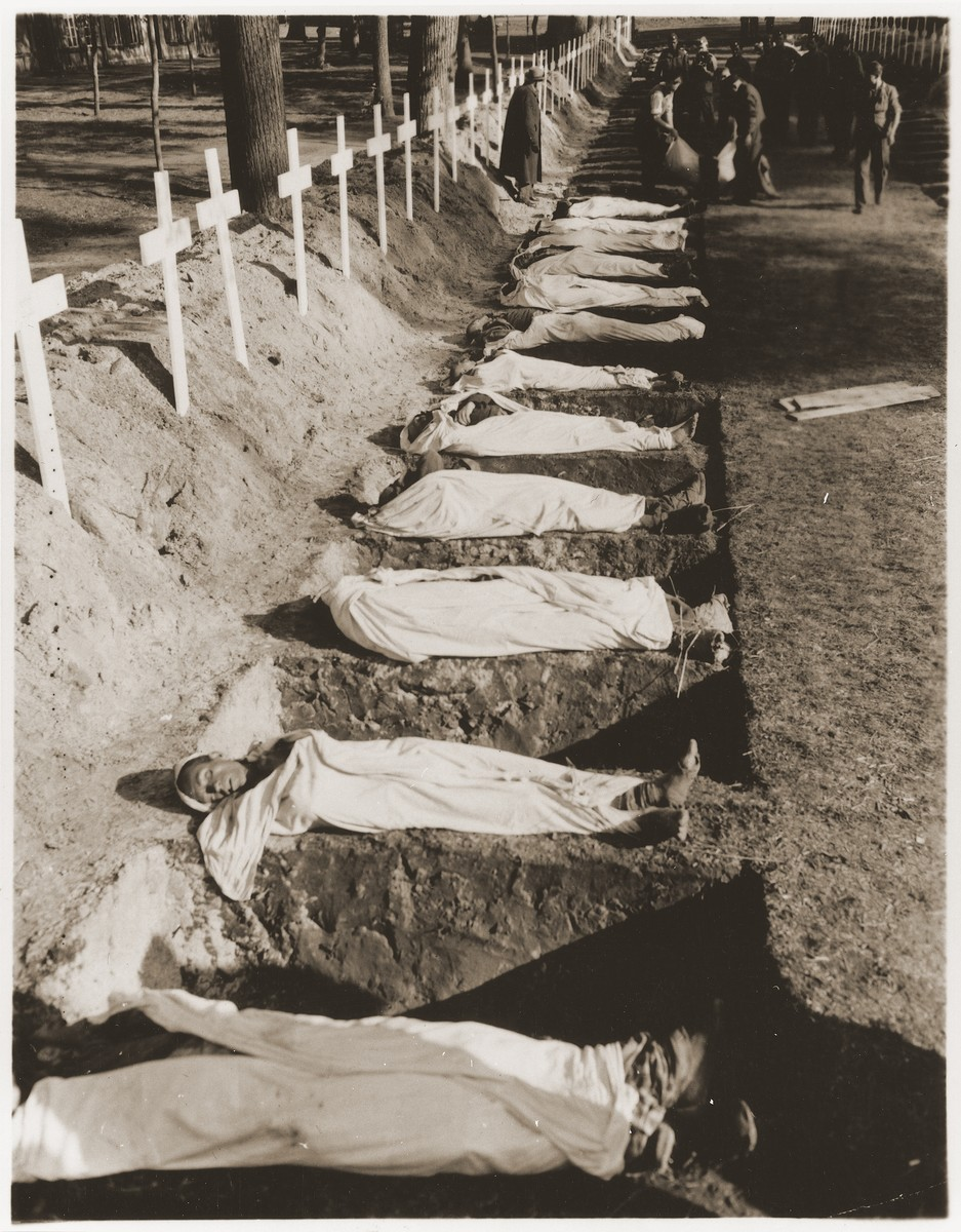 The bodies of prisoners who died in the Woebbelin concentration camp lie next to open graves on the palace grounds of the Archduke of Mecklenburg in Ludwigslust, Germany.