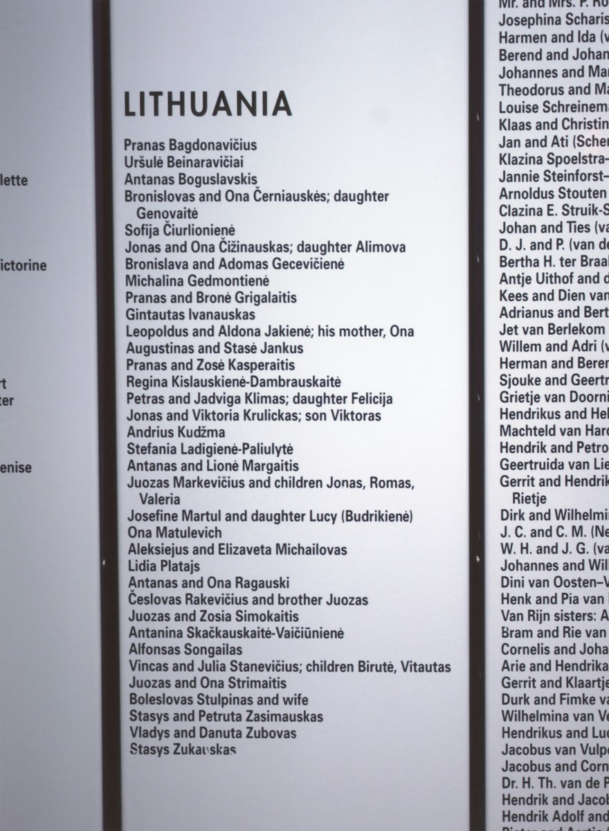 """A detail of the Lithuanian section of the Rescuers' Wall on the second floor of the permanent exhibition.  The Rescuers' Wall at U.S. Holocaust Memorial Museum pays tribute to more than 10,000 individuals identified by Yad Vashem as """"Righteous Among the Nations"""" for risking their lives to save Jews."""