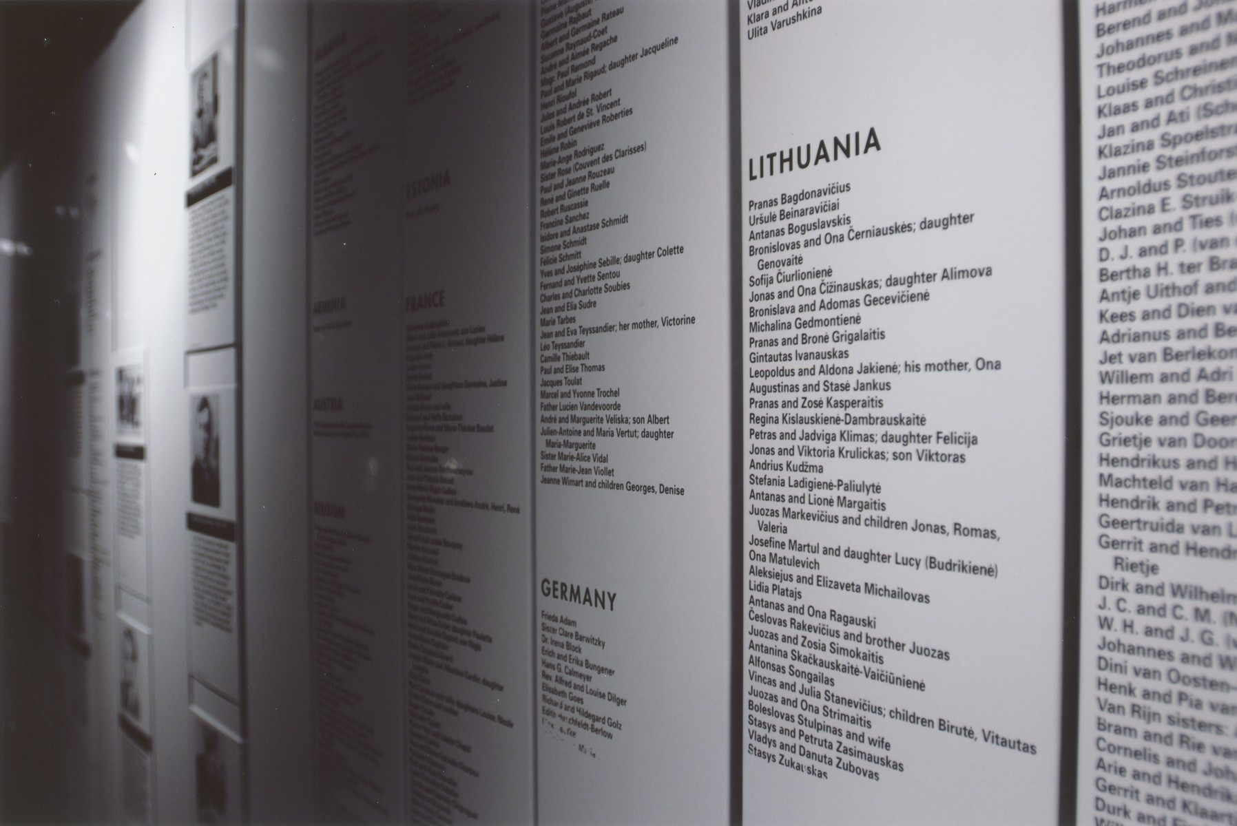 "View of the Lithuania section of the Rescuers' Wall on the second floor of the permanent exhibition.  The Rescuers' Wall at U.S. Holocaust Memorial Museum pays tribute to more than 10,000 individuals identified by Yad Vashem as ""the Righteous Among the Nations"" for risking their lives to save Jews."