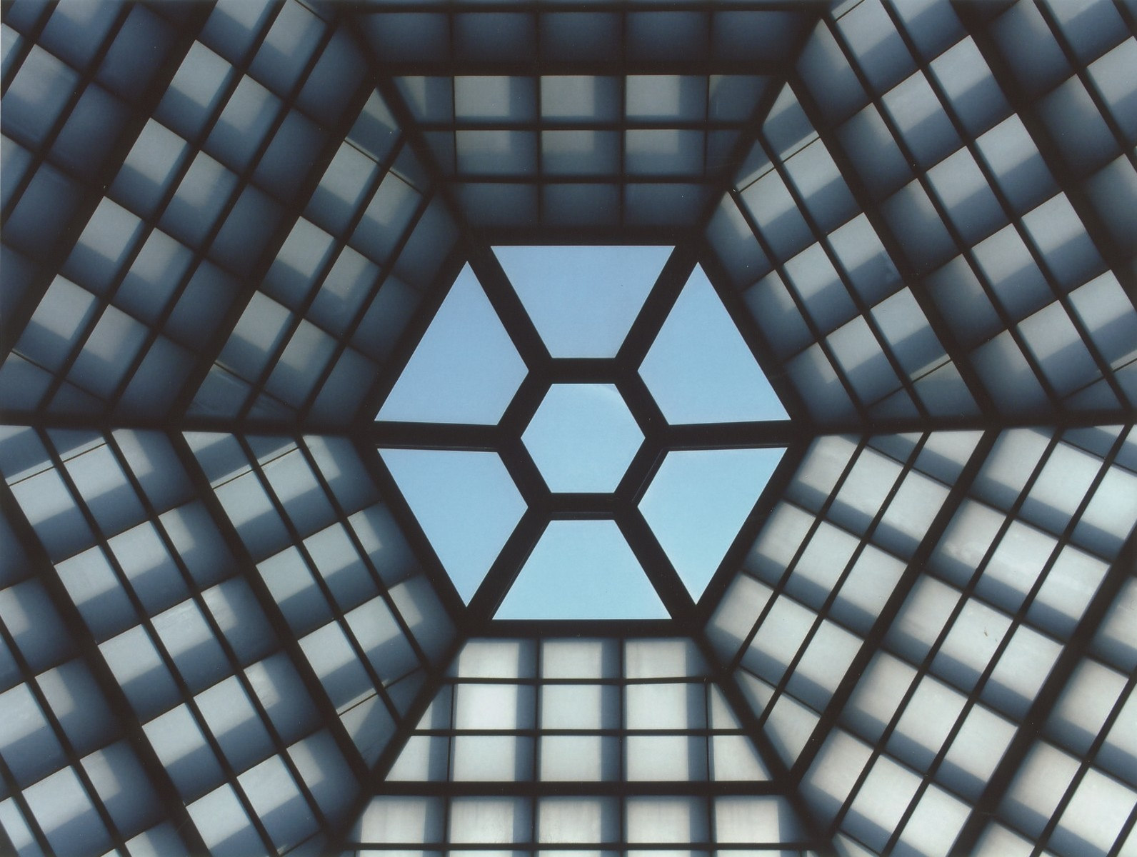View of the six-sided skylight in the Hall of Remembrance at the U.S. Holocaust Memorial Museum.