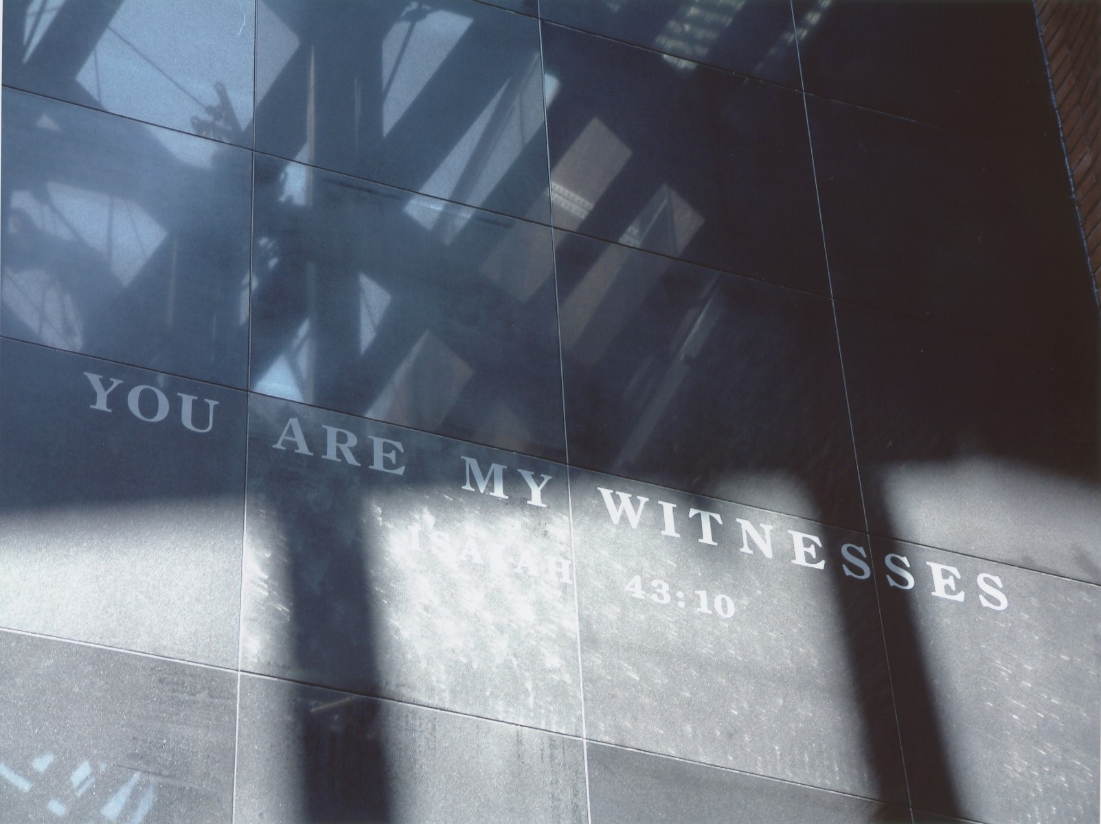 "A detail of the ""You Are My Witnesses"" wall in the Hall of Witness at the U.S. Holocaust Memorial Museum."