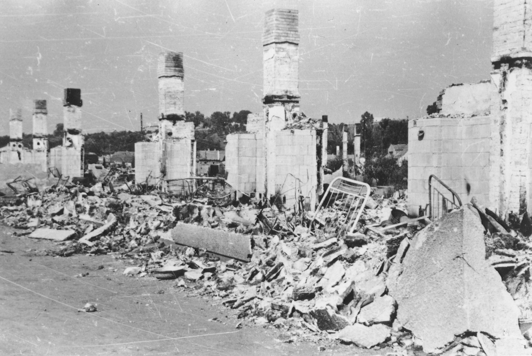View of the ruins of the Kovno ghetto after its liquidation.  [ALSO HAVE OVERSIZED PRINT.]
