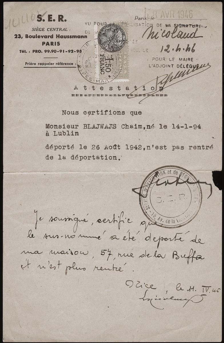 A document issued by the Service d'evacuation et de regroupment certifying that Chaim Bleiweiss [here spelled Blajwajs] was deported on August 26, 1942 and never returned.