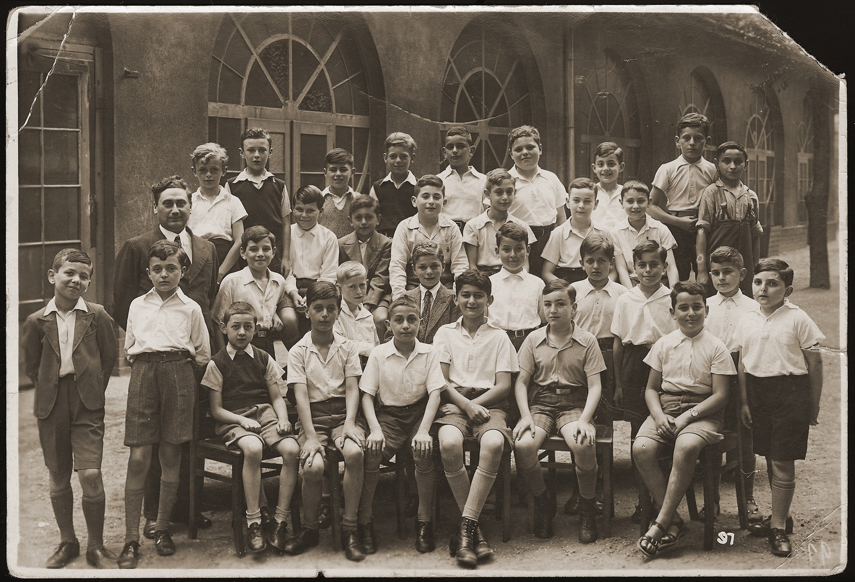 Group portrait of students in the sixth form of the Carlebachschule, a school that was established for Jewish children, when they were no longer permitted to attend public schools in Leipzig.