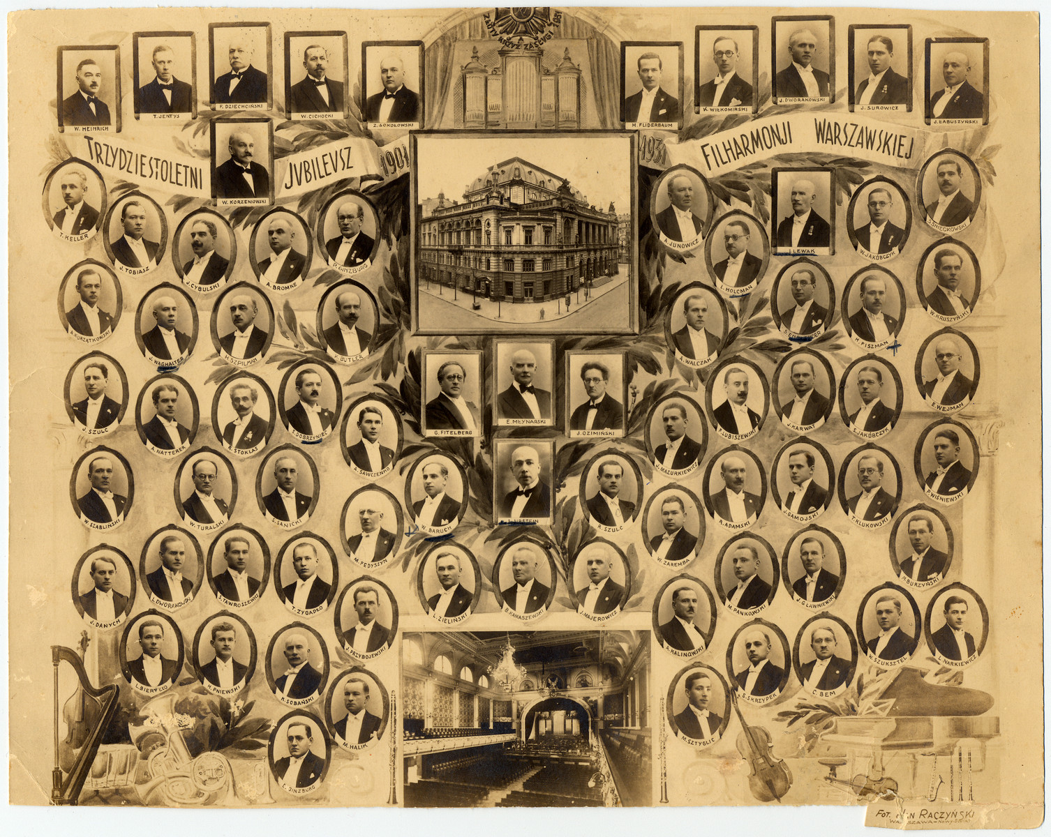 Composite photograph of the musicians of the Warsaw Philharmonic.  Of the 76 members, 28 were Jewish.