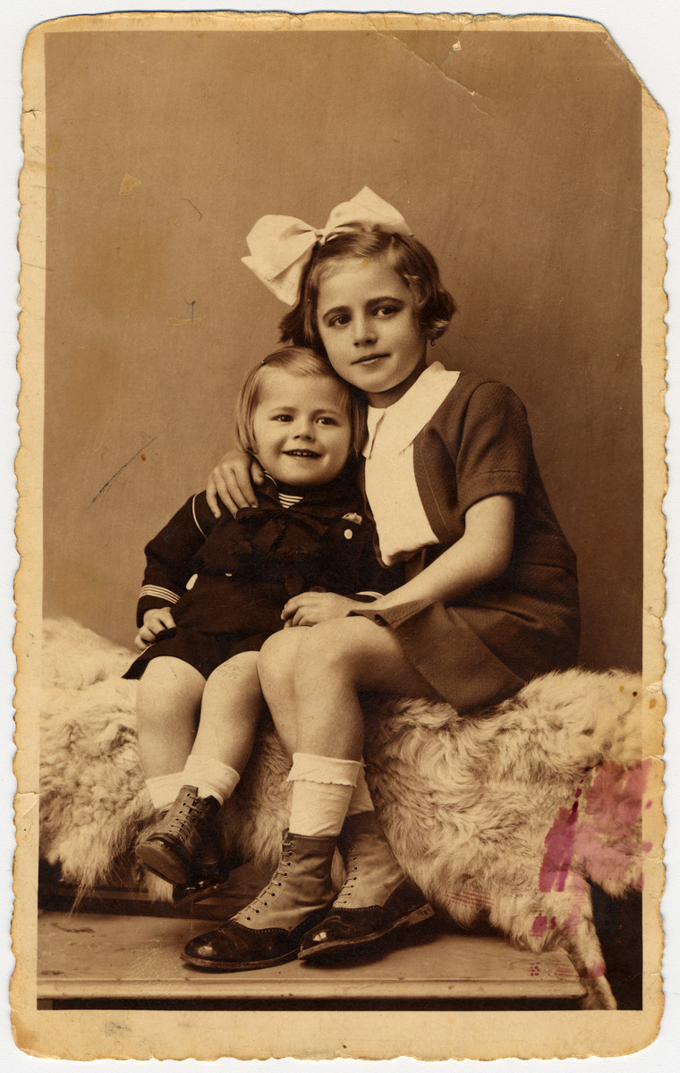 Portrait of Veronica Salamon and her brother Imre in Valea-lui-Mihai, Romania.