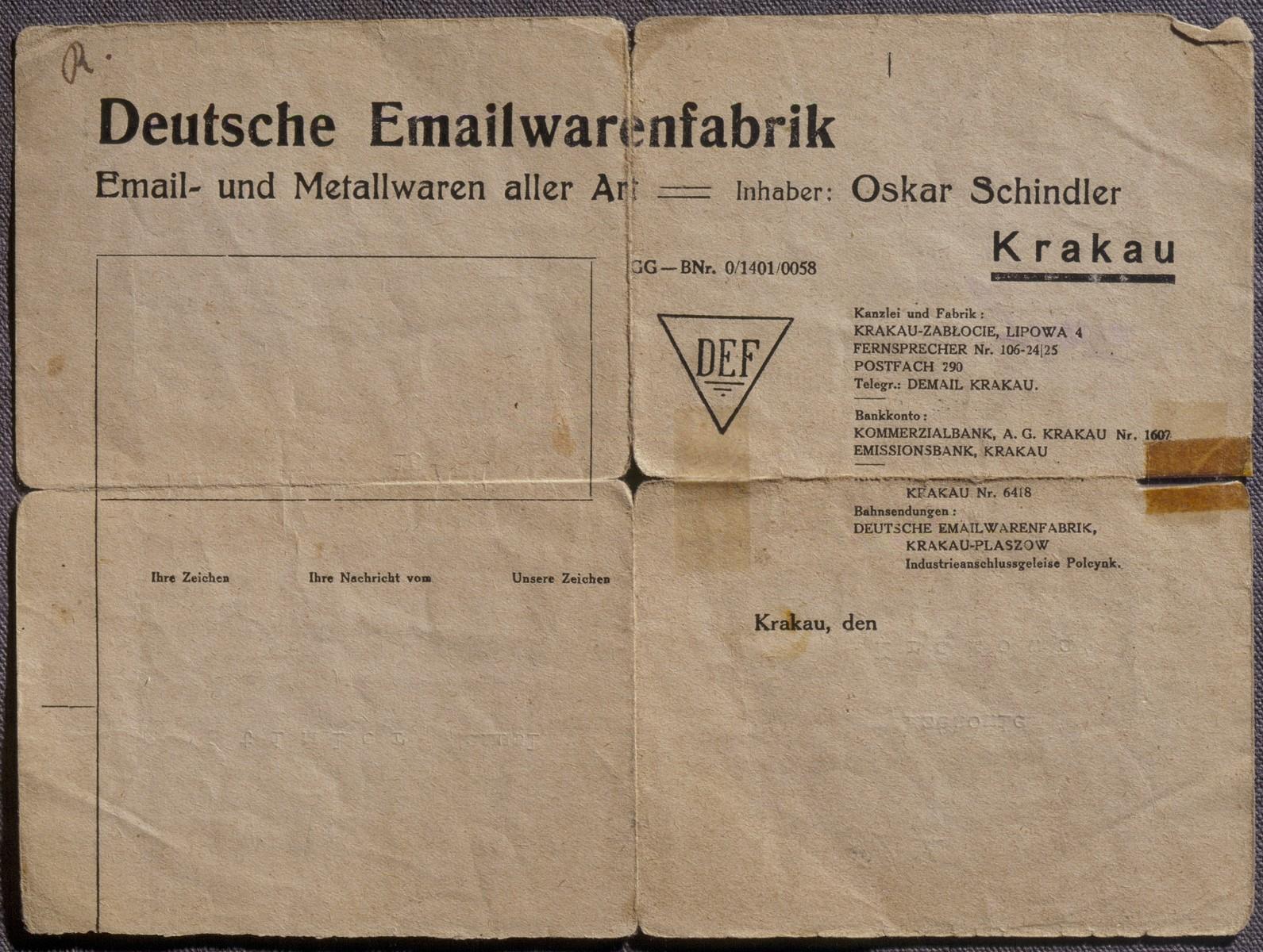 Letterhead of Oskar Schindler's Emaila enamelworks factory in Krakow.