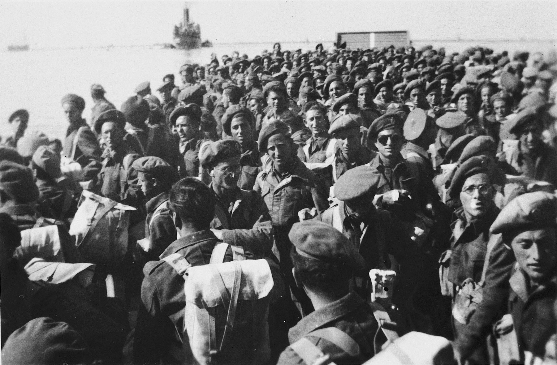 Soldiers from the Jewish Brigade prepare to depart for Europe.