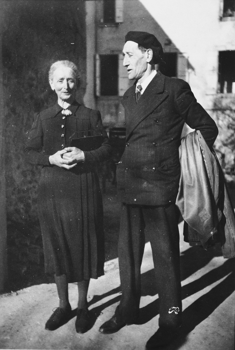 Portrait of Mr. and Mrs. Nadal, staff of the Chateau de la Hille and Spanish refugees.  Mr. Nadal worked as a carpenter and Mrs. Nadal did the laundry.