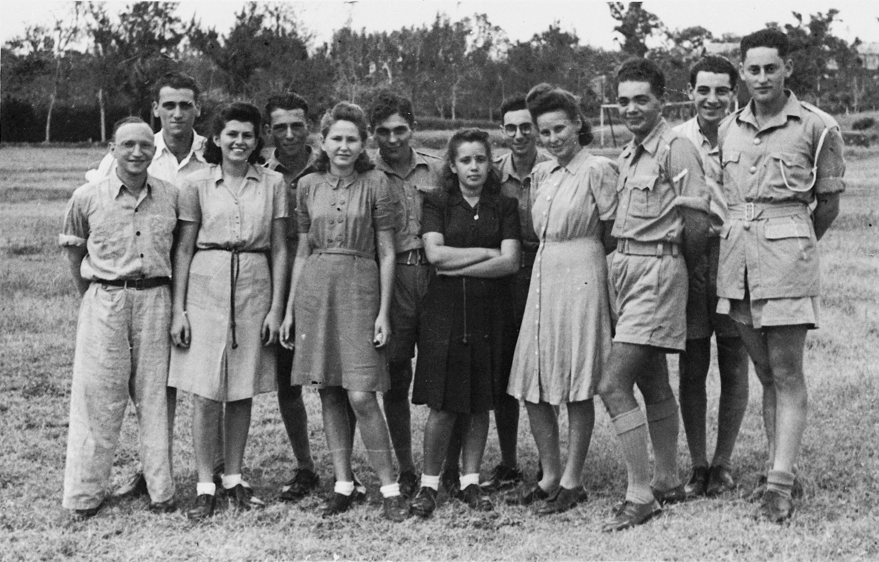 Jewish young people interned on the island of Mauritius.  Heinrich Wellisch is pictured fifth from the right.