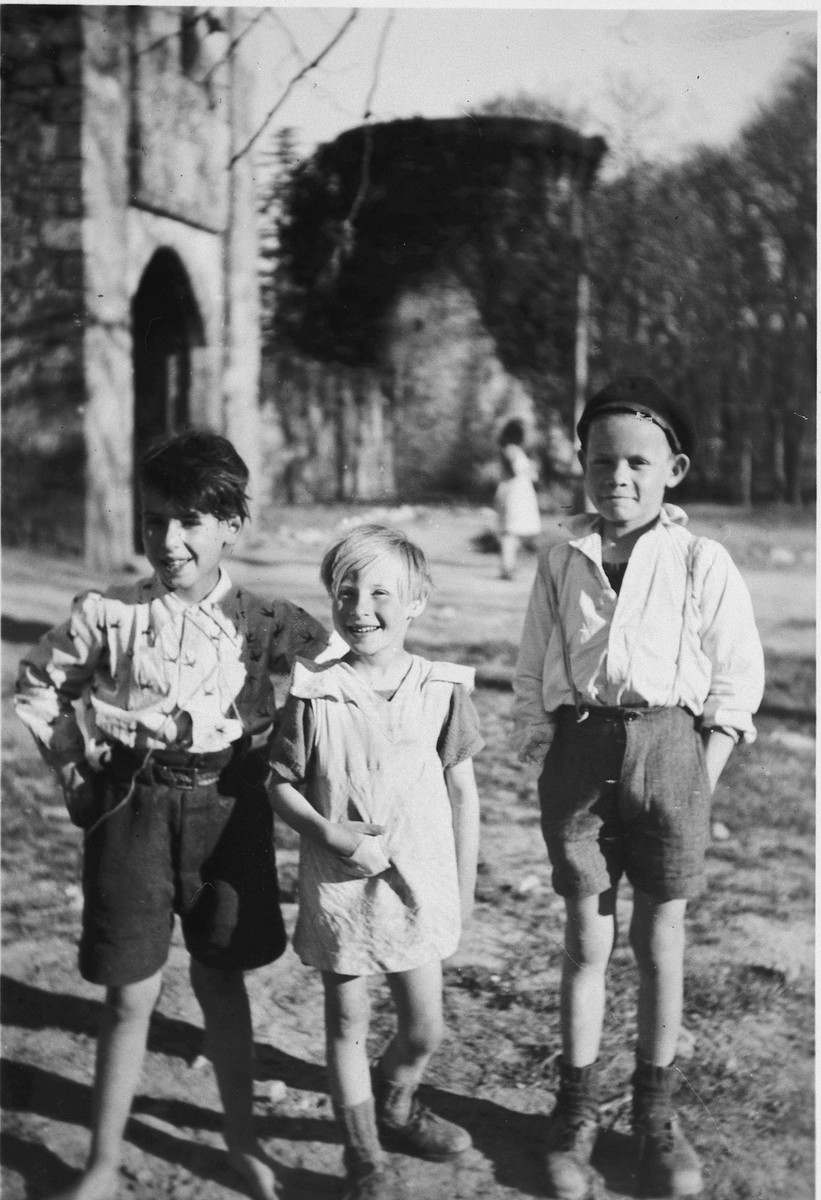 Three boys at the Chateau La Hille.  Pictured are Jojo, Lucette and Roland.