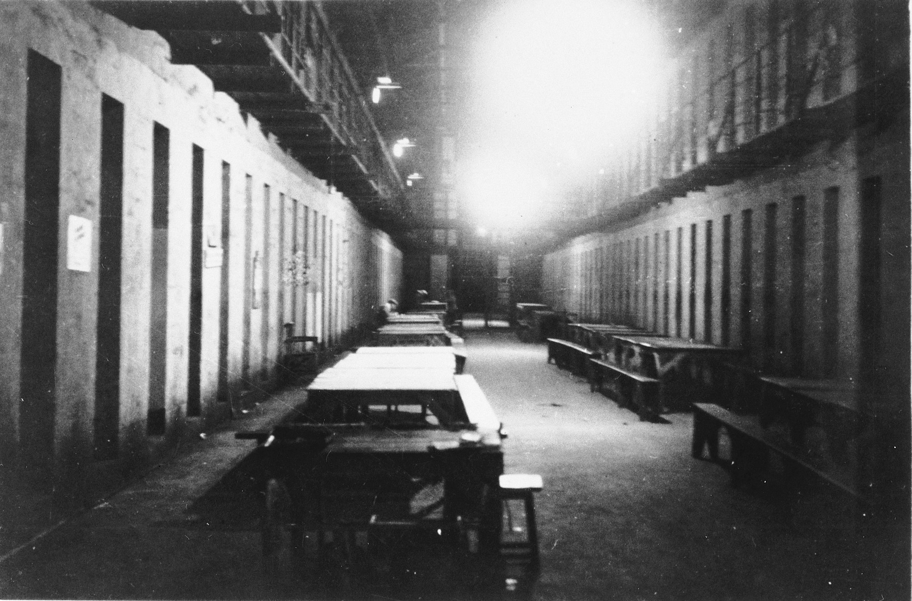Interior view of the prison in Mauritius that housed the Jewish internees.