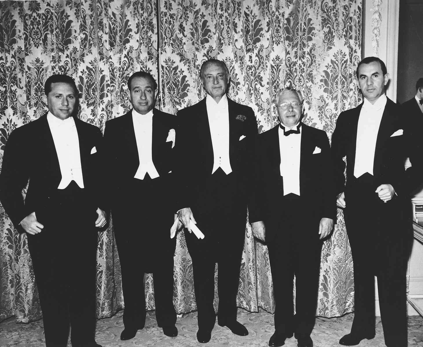 Group portrait of American Zionist leaders and philanthropists.  Pictured from left to right are: Sidney Reisman, Russek, Edwin Goodman, Samuel Strickman and Leonard Ginsberg.