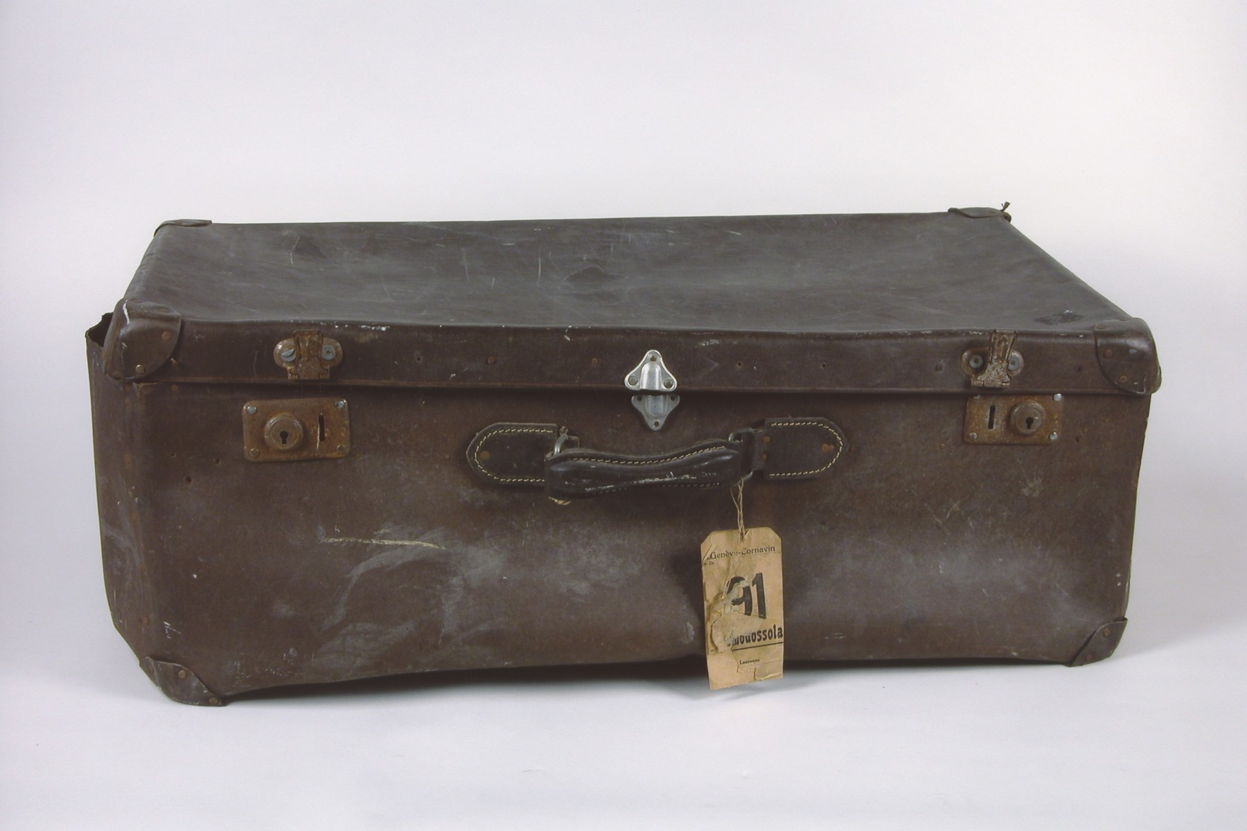 A suitcase taken on the Kasztner rescue train by Bela Gondos, a Jewish physician from Budapest.  The suitcase was used by the family in Bergen-Belsen, Switzerland and when they immigrated to the U.S.