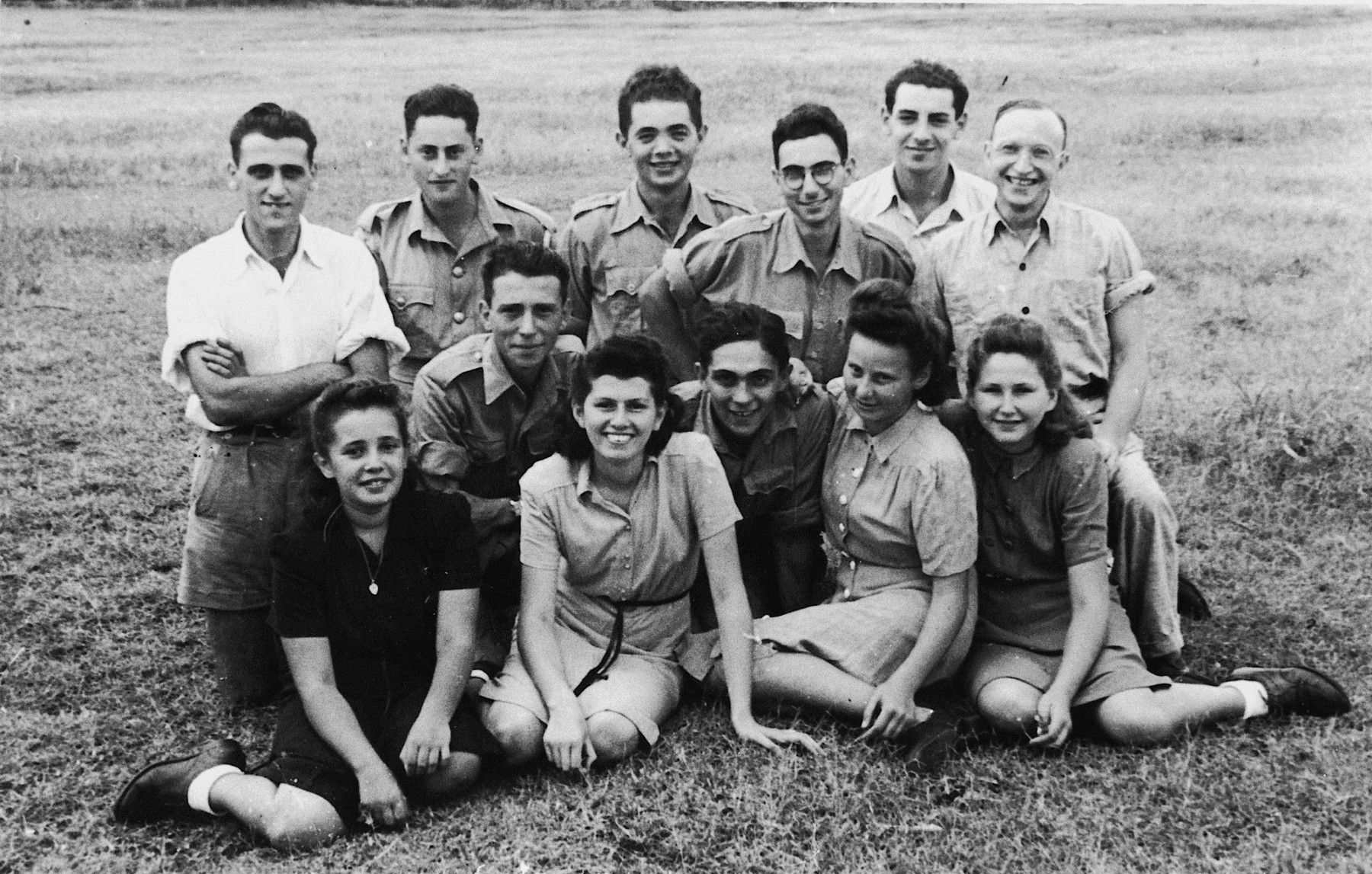 Jewish young people interned on the island of Mauritius.  Heinrich Wellisch is pictured in the second row, third from the right.