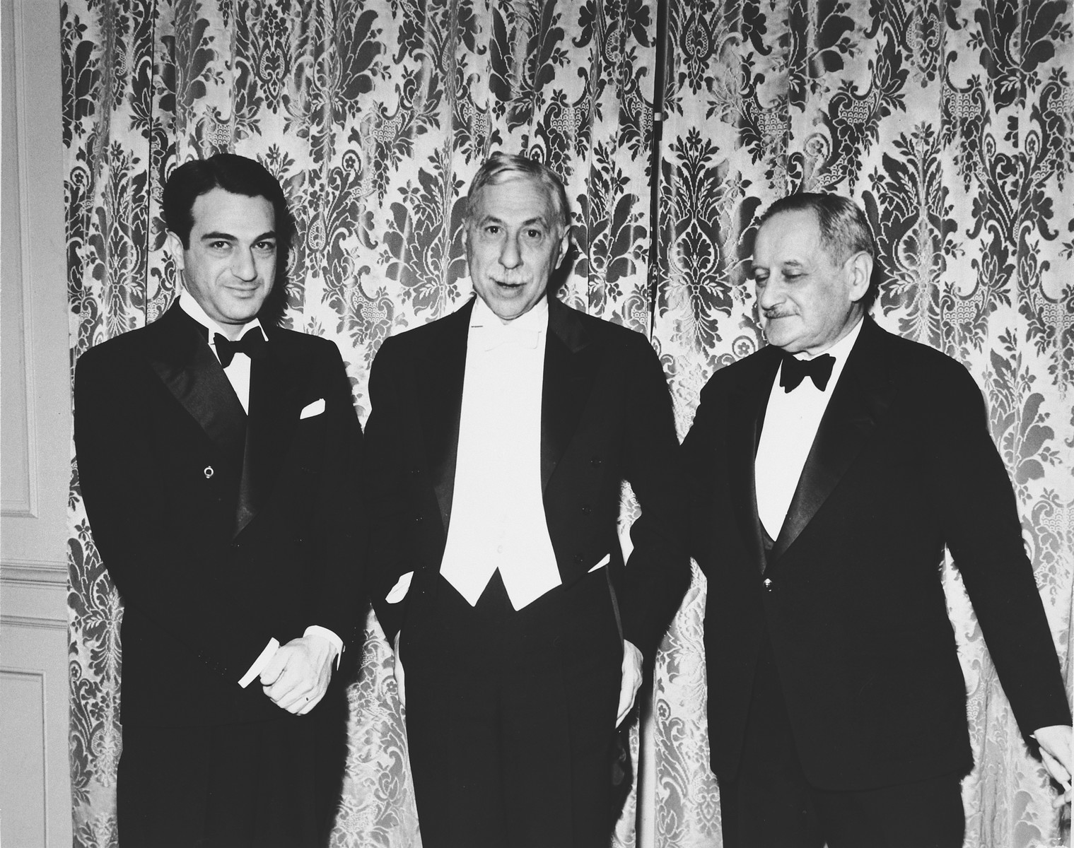 Group portrait of American Zionist leaders and philanthropists.  From left to right are George Blacker, Joseph M. Poskauer, and Paul Baerwald of the JDC.