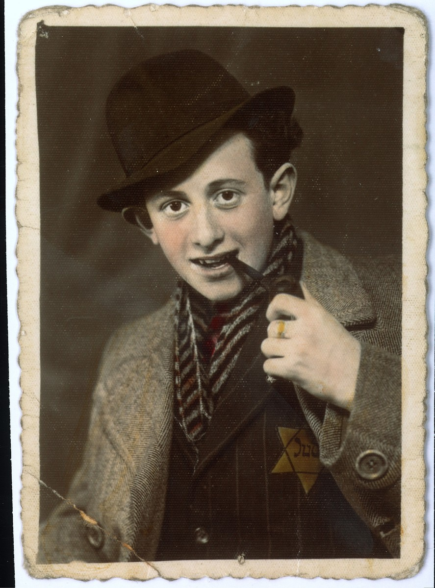 Portrait of a Jewish youth in the Bedzin ghetto.  Pictured is Abram Szyjewicz.