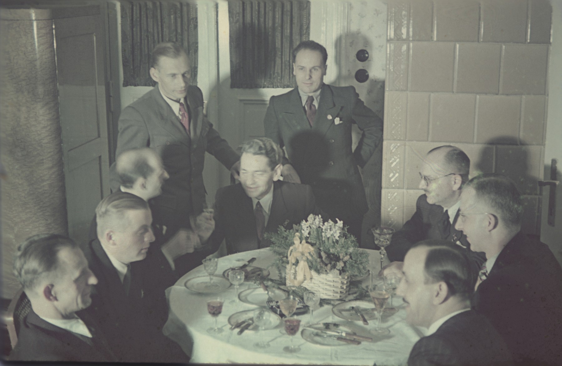 German administrators celebrate at a party in the Lodz ghetto.