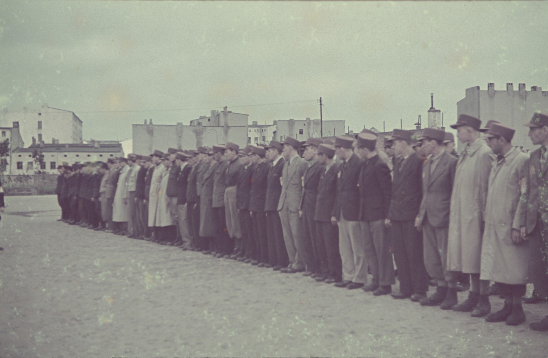 Police line up for a roll-call in the Lodz ghetto.