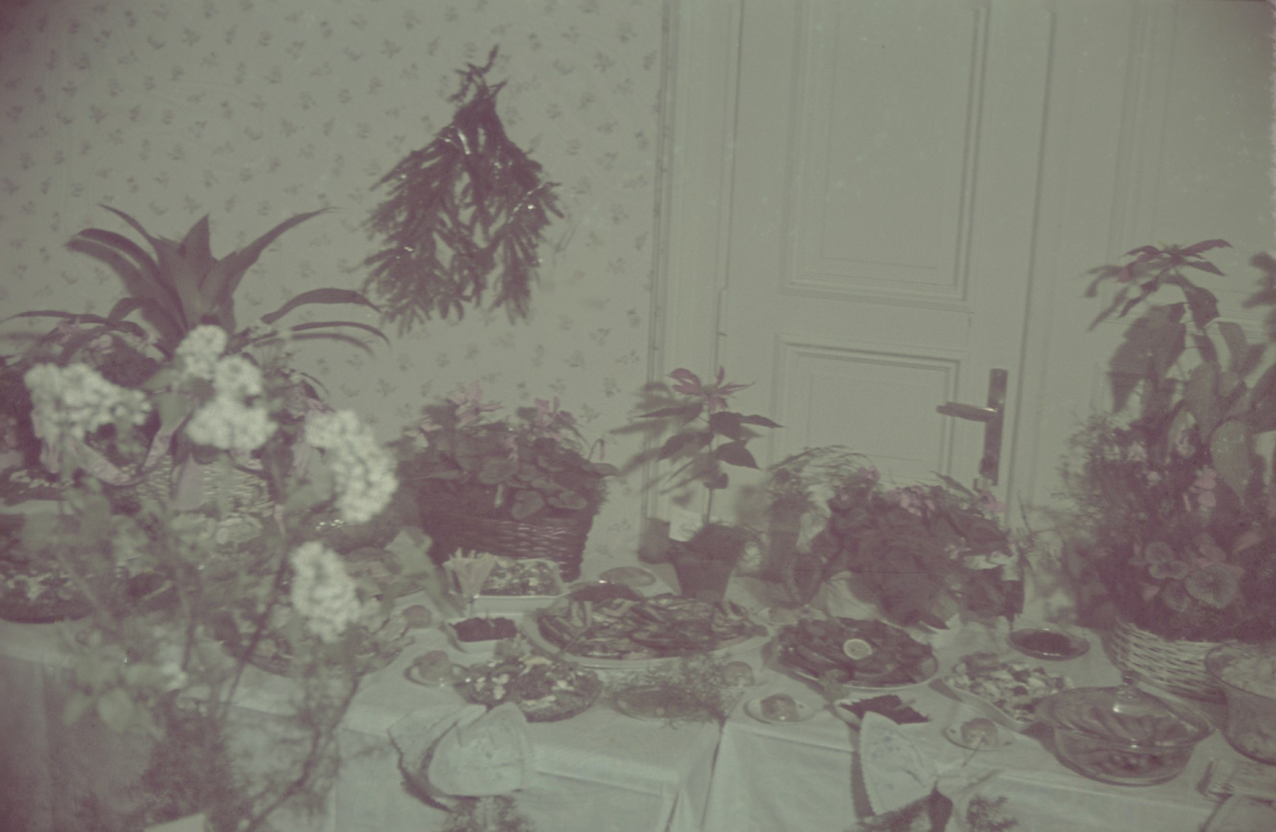 A table decorated with plants and food for a celebration [probably of the birthday of Hans Biebow, the German head of the Lodz ghetto administration].