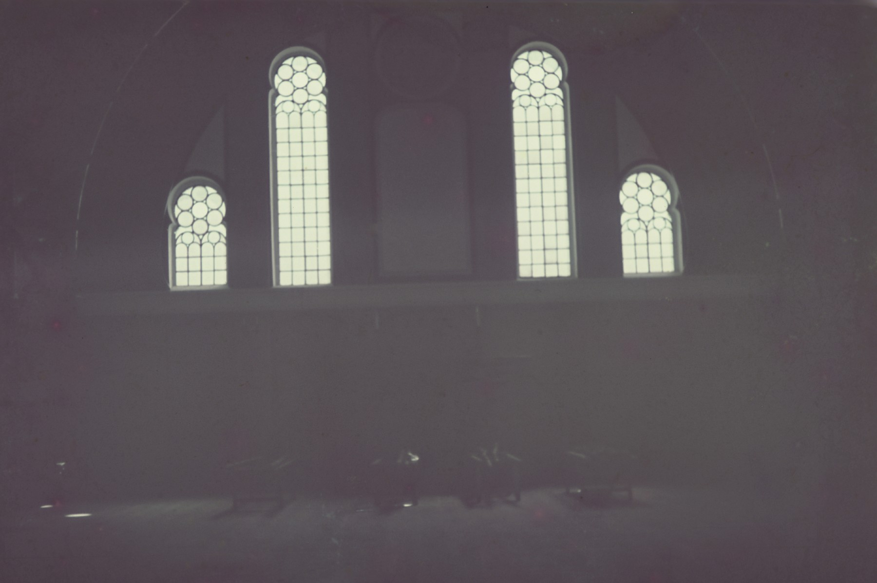 An interior view of either a chapel or a musoleum from the Genewein collection.