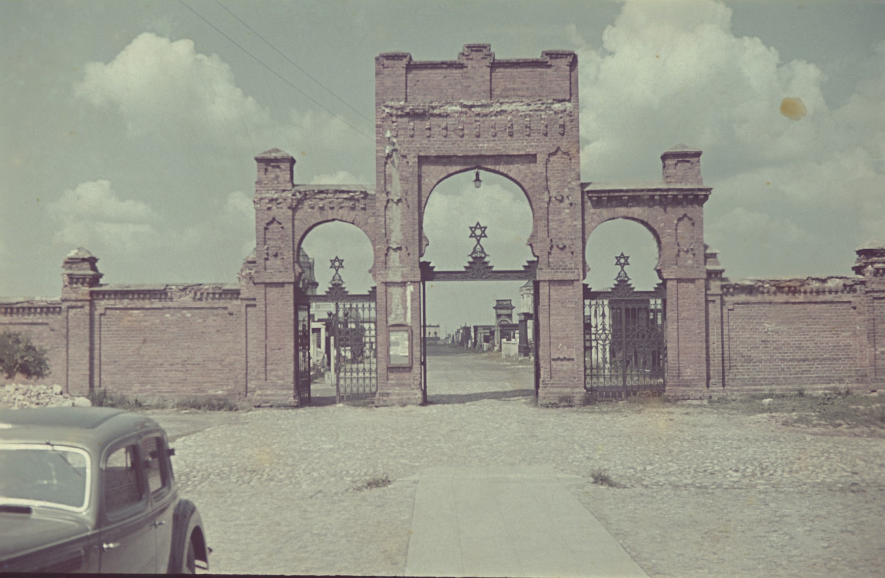Entrance gate to the Jewish cemetery in the Lodz ghetto.