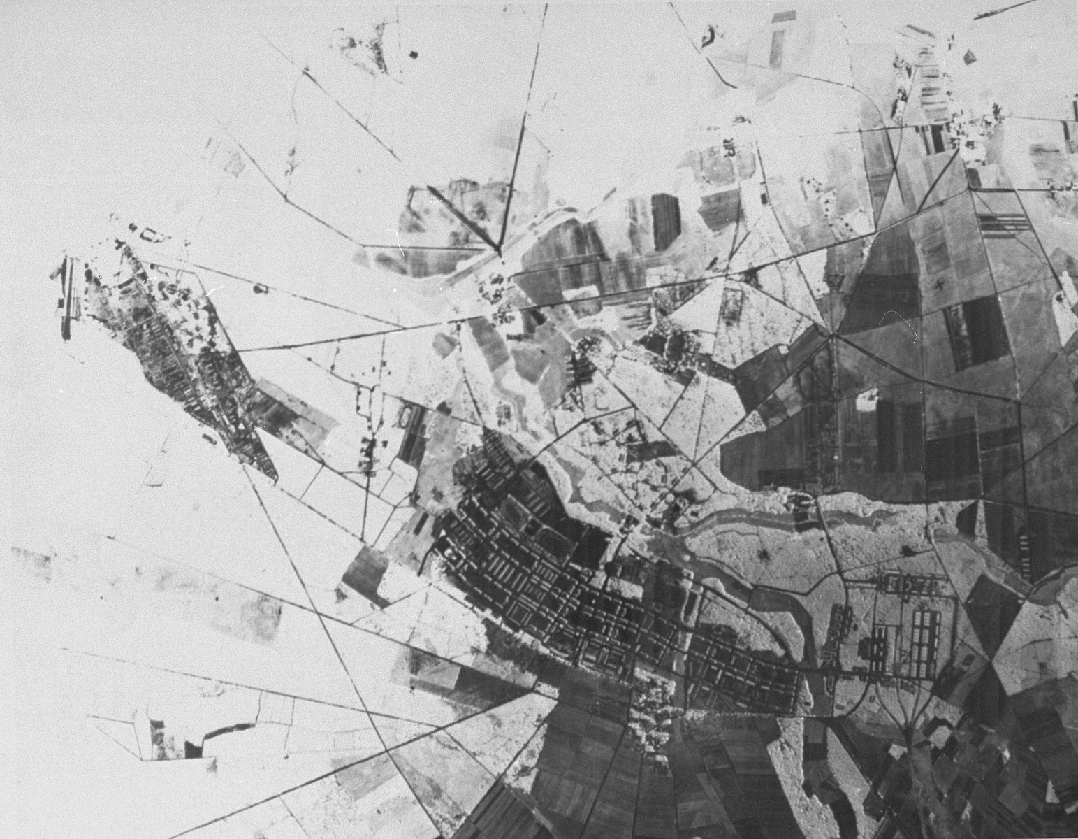 Aerial reconnaissance photograph of the Bergen-Belsen concentration camp area showing the village of Bergen.