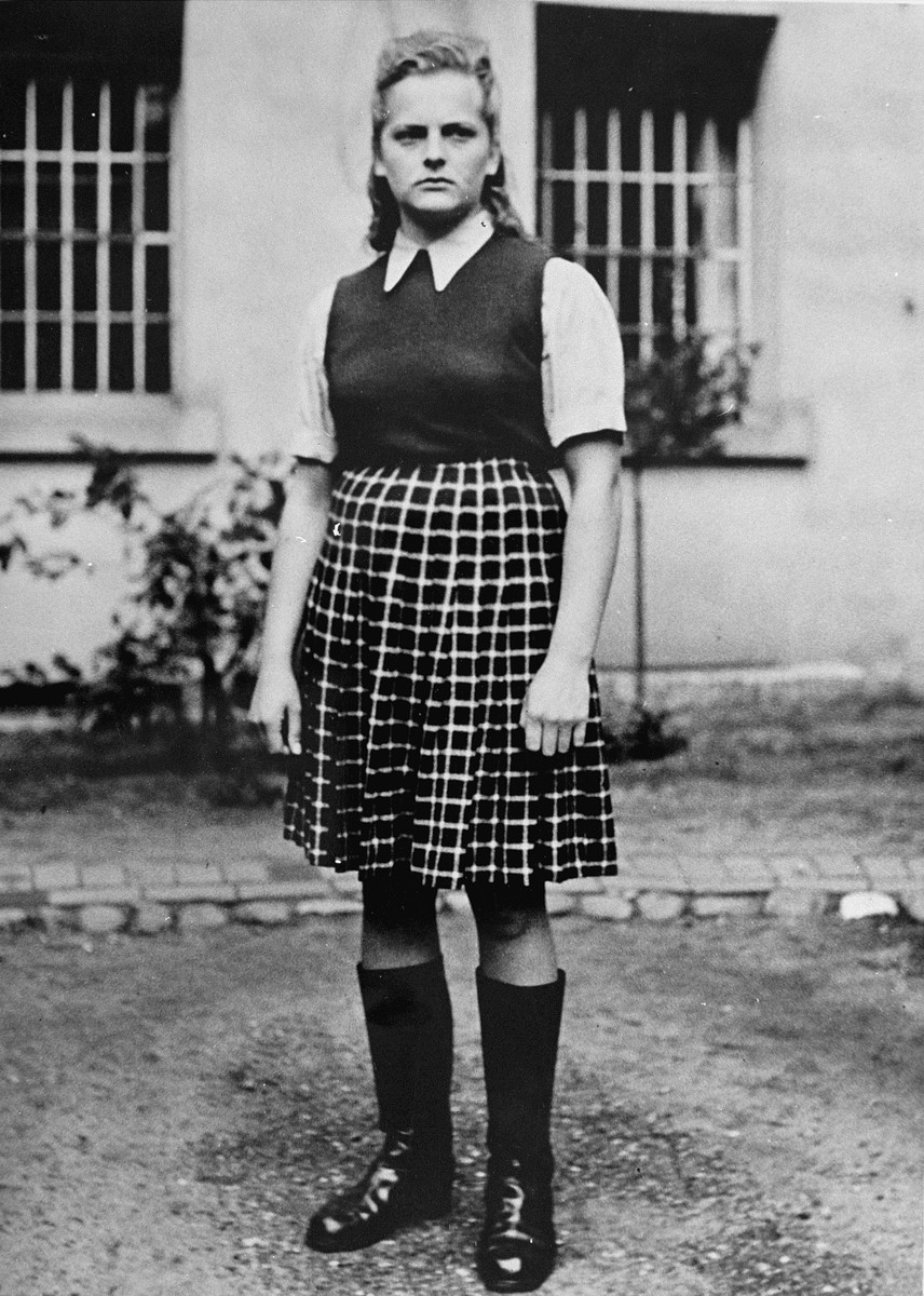 """Close-up of Irma Grese, known as """"The Bitch of Belsen"""", an SS wardress in Auschwitz-Birkenau, Ravensbrueck, and Bergen-Belsen concentration camps.    She was convicted by a British military tribunal at Luneburg of committing crimes against humanity and was executed by hanging."""