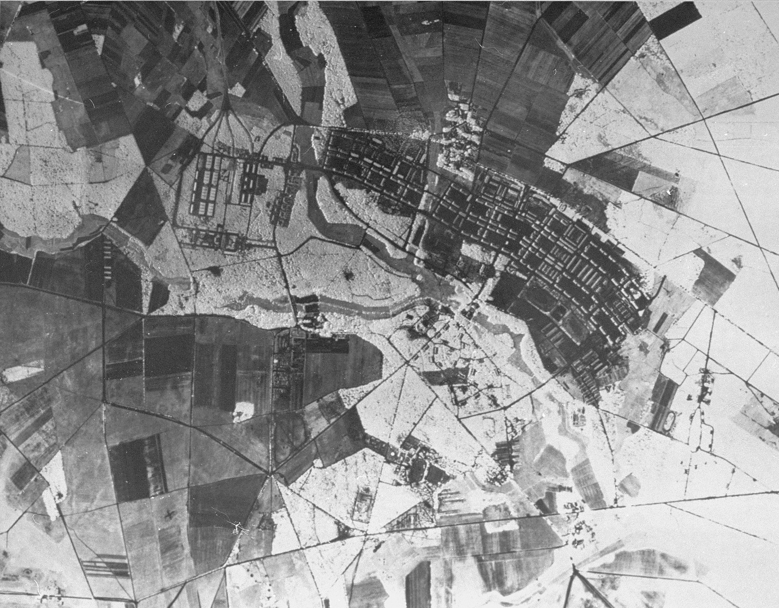 Aerial reconnaissance photograph of the Bergen-Belsen concentration camp area showing the military training base, about two kilometers northeast of the camp.
